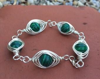 malachite beaded wire bracelet