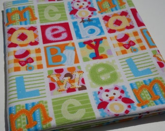 Baby Flannel Receiving Blanket, Colorful Letter Blocks, Flannel Receiving Blanket, Swaddle Blanket, Large Blanket, Owls, Rattles, Colorful