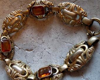 Bracelet, Vintageschmuck, Vintagearmband, glass, gold, jewelry, antique bracelet, jewel old, Art Deco, Art Nouveau, Baroque, Rococo