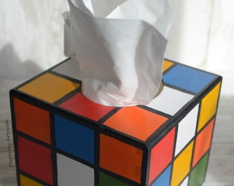 Big bang theory, Sheldon Cooper's Rubik's cube tissue box cover. Hand painted tissue dispenser Rubik's cube. Gift for him.
