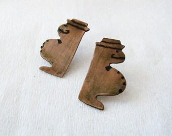 Copper stud earrings - Summer earrings - Little - misters - whimsical earrings - oxidized copper earrings - egst - europeanstreetteam