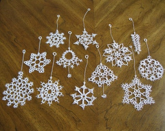 12 Handmade White Tatted Lace Christmas Ornaments