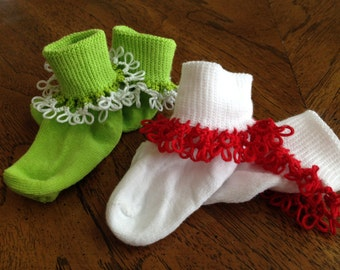 Ruffle Tatted Christmas Socks