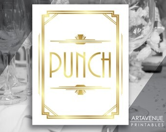 "Art Deco Printable Art Gatsby Wedding Sign - ""PUNCH"" White and Faux Gold digital file - ADWG1"