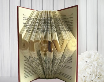 """Police Officer Gift - Folded Book Art Featuring the Word """"brave"""" - Great Gift for the Book Lover"""