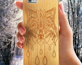 Wolf  Real Wood iPhone 6 /6s Case   Wood Apple Case   iPhone 6 Cover   iPhone 6S Case   Real Wood Case    Laser Engraved   Laser Etched