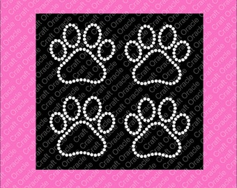 Set of 4, 2 5/8 inch paw print rhinestone appliqués.