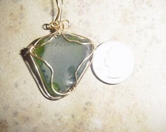 green beach glass necklace