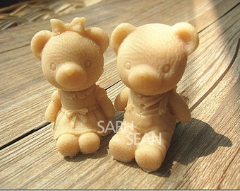 Cute Male & Female Teddy Bear Duo Silicone Moulds