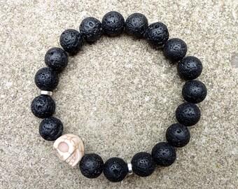 Men's Lava Rock Black Energy Bracelet
