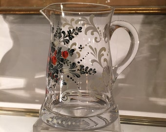 Victorian Hand Painted Glass Pitcher