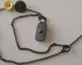 Vintage Inpired Button Pendant Necklace
