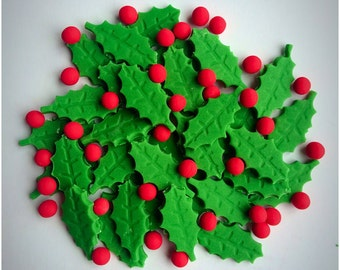 Edible Sugar Holly Leaves and Berries, Christmas Cake, Cupcake Decoration