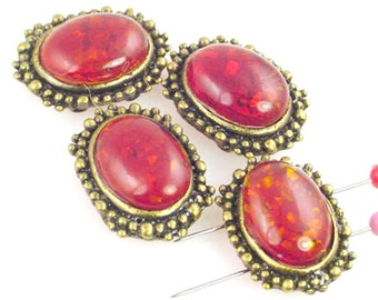 6 Faux Amber 2 Hole Slider Beads 11082-q3