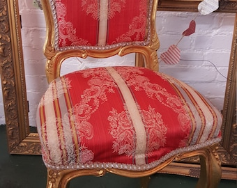 Vintage French/Victorian Gold Gilded Upholstered Chair Red Cloth Vanity  Small Occasional Chair