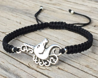 Unicorn Bracelet, Unicorn Anklet , Adjustable Cord Macrame Friendship Bracelet, Gift for Her, Macrame Jewelry, Unicorn Gift, Mythical Animal
