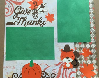 Thanksgiving premade scrapbook page 12x12