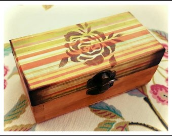 Lovely Hand Decorated Gift Box/ Trinket Box/ Ring Box