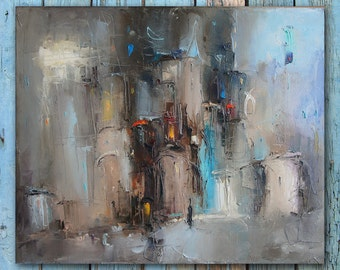 Abstract Painting Cityscape Urban art Painting on Canvas Modern Impasto Oil Painting Contemporary art Grey Blue Brown Home office decor