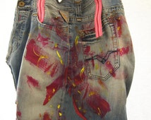 OOK - Oversized - Upcycled - Replay - Jeans - Boho - Apstract - Painting - Handmade - Bag