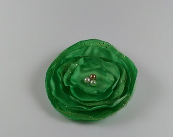 Satin flower hair clip