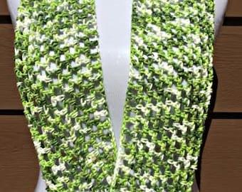 Crochet Scarf, Cotton Scarf, Summer Scarf, Lightweight Scarf, Green Scarf, Crochet Summer Scarf, Spring Scarf, Infinity Scarf, Fashion Scarf