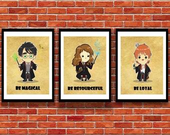 Harry Potter Inspired Wall Art-Set of 3, Harry Potter, Hermione Granger, Ron Weasley, kid's wall art, geekart