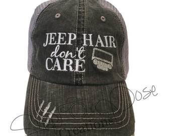 Jeep Hair Don't Care Trucker Hat - Silver Jeep Grill