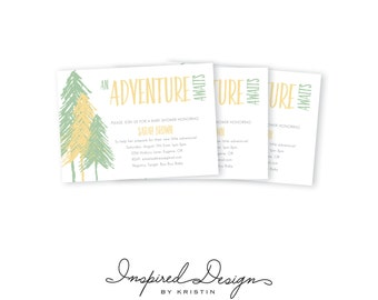 An Adventure Awaits, outdoor themed, baby shower digital invitation, printable, 5x7