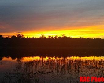 Fiery Sunset Over a Minnesota Lake