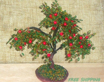 beaded tree, apple tree, beaded bonsai apple tree