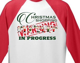 Christmas Shopping Baseball 3/4 Baseball Tee