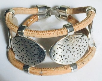 Portuguese cork and zamak double row bracelet