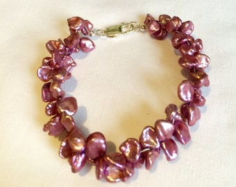 Keshi Pearl and Sterling Silver bracelet