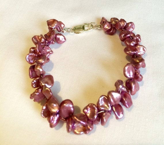 Keshi Pearl and Sterling Silver bracelet