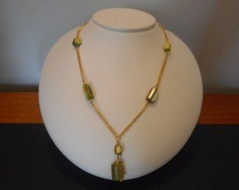 Long Green Shell Bead Y Necklace