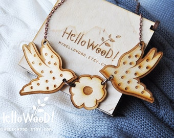 Wooden Bird Swallow Necklace Pendants in Wooden Box