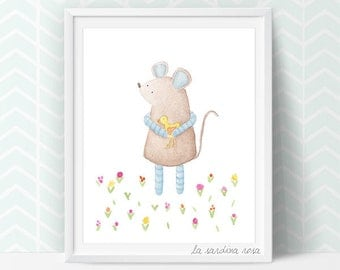 Cute mouse wall art, nursery print, mouse woodland room decor, Mouse poster, Mouse watercolor, Animal nursery