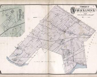 1877 Map of Acquackanonck Township Passaic County New Jersey