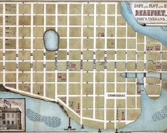 1860 Map of Beaufort South Carolina