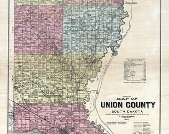 1892 Map of Union County South Dakota Big Sioux
