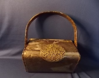 Sale item Vintage Wilardy Taupe Lucite Box Purse