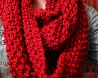 Chunky Red Knit Scarf