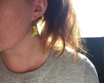 High Heel Yellow Dangle Boot Earrings