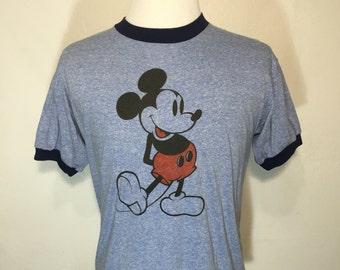80's vintage mickey mouse heather blue ringer t shirt size XL disney 50/50