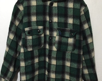 60's 50's vinvage wool plaid shirt cat eye button up
