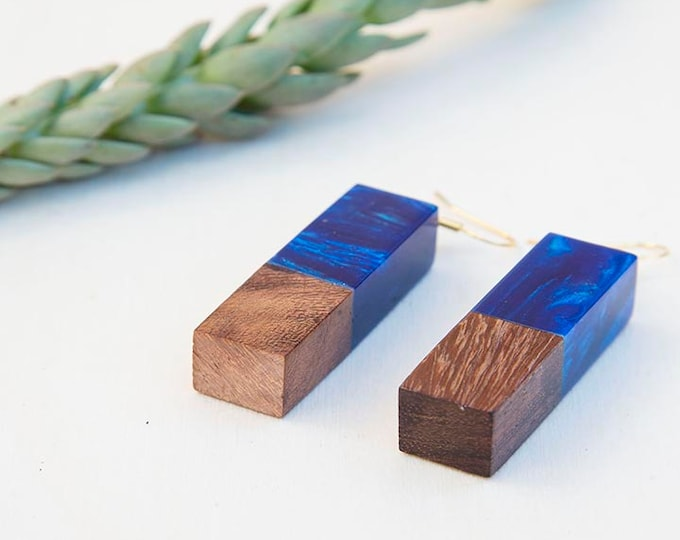 Wood earrings, Blue earrings, Resin earrings, gift for women, Olive wood jewelry, resin jewelry, birthday gift, wood resin earrings