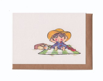 A Day at the Beach - Greeting Card