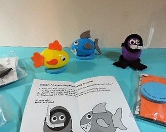 Kids craft kit - Ocean Easter egg decorating kit - Makes 3 eggs