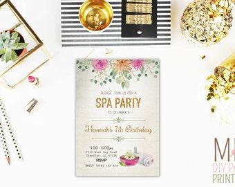 Watercolor spa Invite_2,Spa Birthday Invitation, Spa Birthday, Spa Invitation, Girls Birthday, Girls Spa Invitation, Girls Day Out